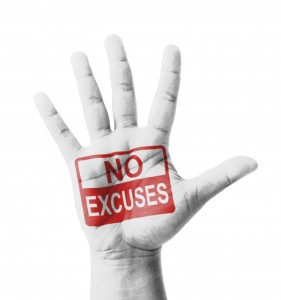 Hand with No Excuses Stamp
